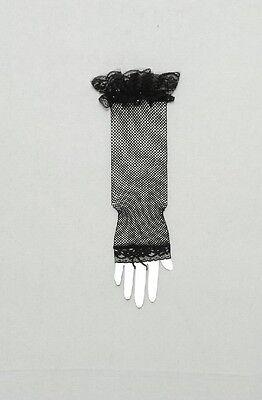 Netz Handschuhe Spitze Fingerlos schwarz  für Karneval Halloween Kostüm Hexe - Spitze Kostüm Handschuhe