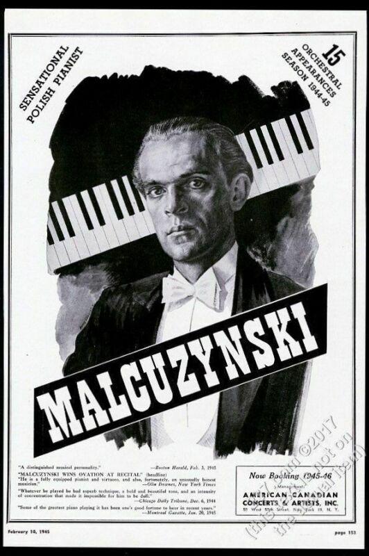 1945 Witold Malcuzynski portrait piano recital tour booking vintage trade ad