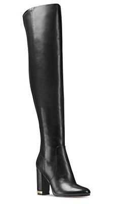 NIB Michael Kors Sabrina Black Smooth Leather Over The Knee Gold Chain Boots 8