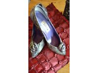 Vintage 1980's Purple Snakeskin Court Shoes