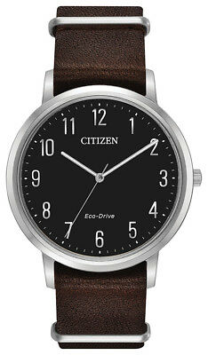 Citizen Eco-Drive Men's BJ6500-04E Chandler Black Dial Brown Leather 41mm Watch