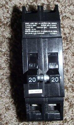 Zinscothomas Betts Qc-20 Circuit Breaker Plug On 2 Pole 20 Amp 120240