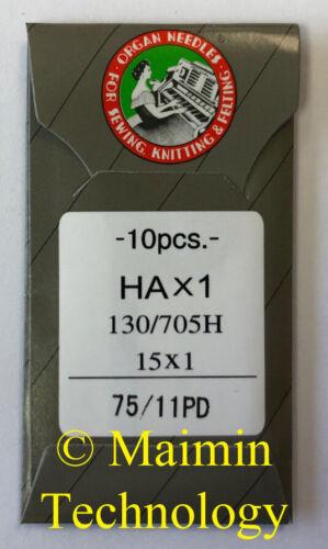 10 75/11 SHARP ORGAN TITANIUM FLAT SHANK 15X1 HAX1 HOME SEWING MACHINE NEEDLES