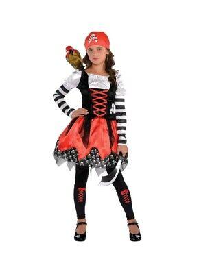 Pirate Costume Girls 8-10 Cruise Clothes NWT Crossbone Medium Halloween - Girl Pirate Clothes