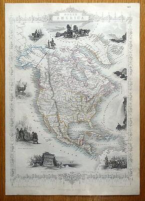 NORTH AMERICA, USA, CANADA, RAPKIN & TALLIS original antique map c1850
