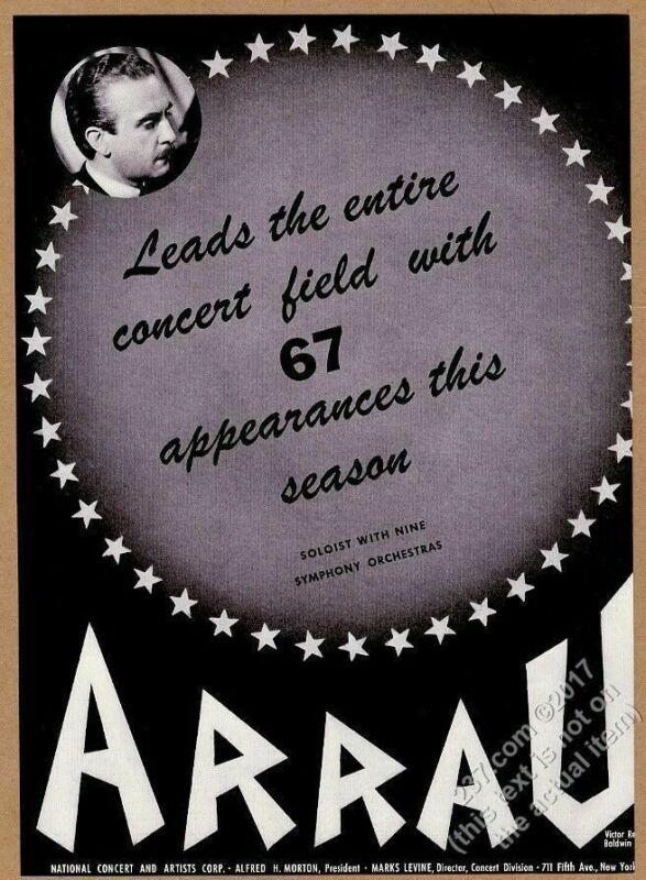 1943 Claudio Arrau photo piano recital tour booking print ad