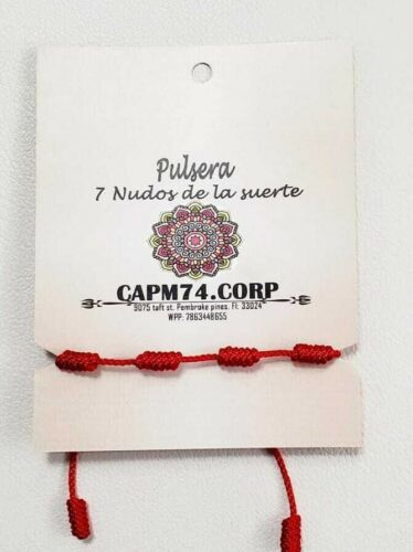 Brazalete Rojo de 7 Nudos - Bracelet For Woman And Man Adjustable Protection