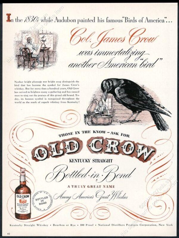1948 Old Crow Bourbon whiskey James Crow drawing bird art vintage print ad