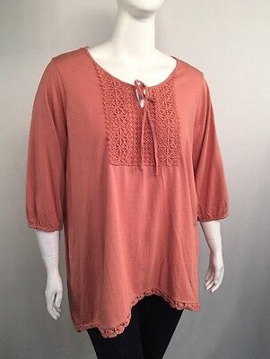 Woman Within Plus Size 1X Coral 3 4 Sleeve Knit Peasant Top
