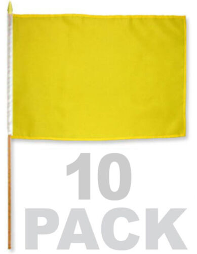 One Dozen (12 pcs) 12x18 YELLOW STICK FLAG Hand Held Solid Color