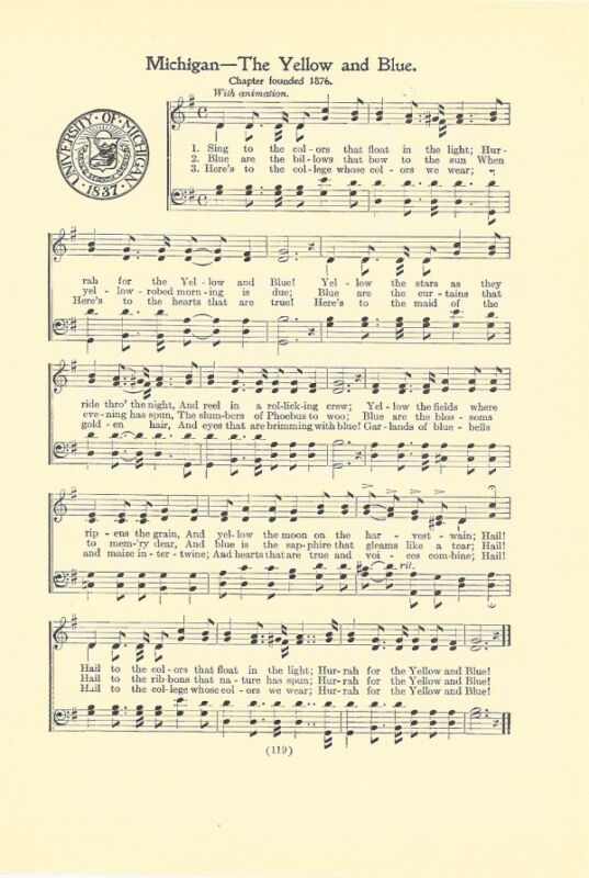 """UNIVERSITY OF MICHIGAN Vtg Song with School Seal c 1937 """"The Yellow and Blue"""""""