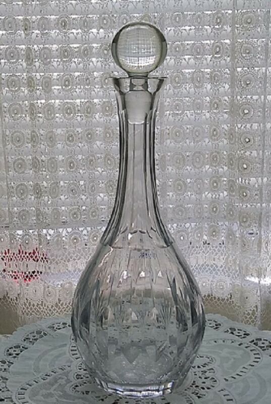 """ETCHED & CUT CRYSTAL 12.5"""" TALL DECANTER * EXCELLENT CONDITION * MID-CENTURY"""