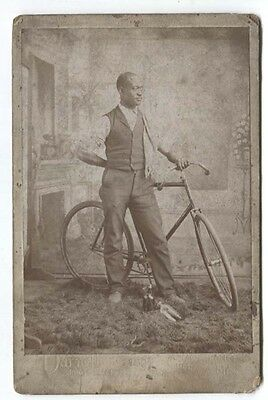 Antique Cabinet Card Photo Black Americana Bicycle Whiskey Cumberland MD RARE