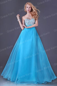 Beaded Prom Gowns Wedding Bridesmaid Formal Evening Party Cocktail Long Dress UK