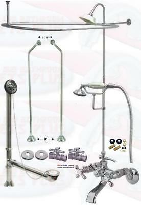 Chrome Tub Mount Clawfoot Faucet Kit W/Shower Riser Enclosure, Drain & Supplies Drain Shower Enclosure