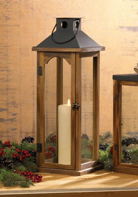 "large 22"" tall brown wood metal Candle holder Lantern Lamp terrace outdoor patio"