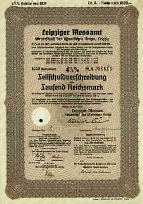 Leipziger Messamt A Körperschaft öffentlichen Rechts 1937 Leipzig Messe Sachsen