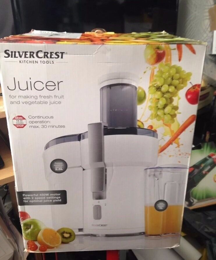 BRAND NEW Silvercrest Kitchen Tools(R) 450W Juicer - Choose from 2 different colours