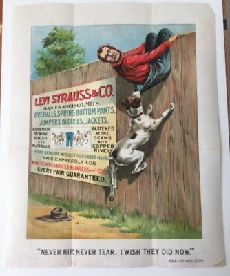 1890's Levi Strauss & Co Advertising Poster 2 Sided Very Rare