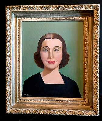 1959 FOLK ART OIL PAINTING Easton Pa. Self Portrait SIGNED