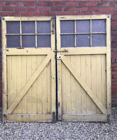 Old wooden garage doors