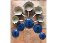 Set of 5 Le Cruset blue pans size 14-22