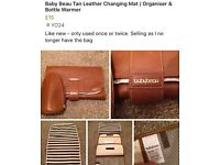 Baby beau tan leather changing mat/ organiser with bottle warmer