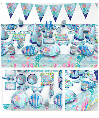 Mermaid ARIEL UNDER THE SEA Party Supplies Sets Plates Cups Napkins Birthday  - Ariel Birthday Plates