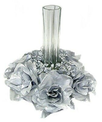 Candle Ring SILVER Wedding Party Unity Centerpieces 25th Anniversary Silk Roses - 25th Wedding Anniversary Centerpieces
