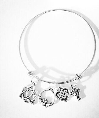 Celtic Knot Claddagh Bangle Charm Bracelet Cross Irish Friendship Jewelry ()