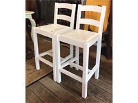 Pair Of White Bar/ Kitchen Stools- NEW