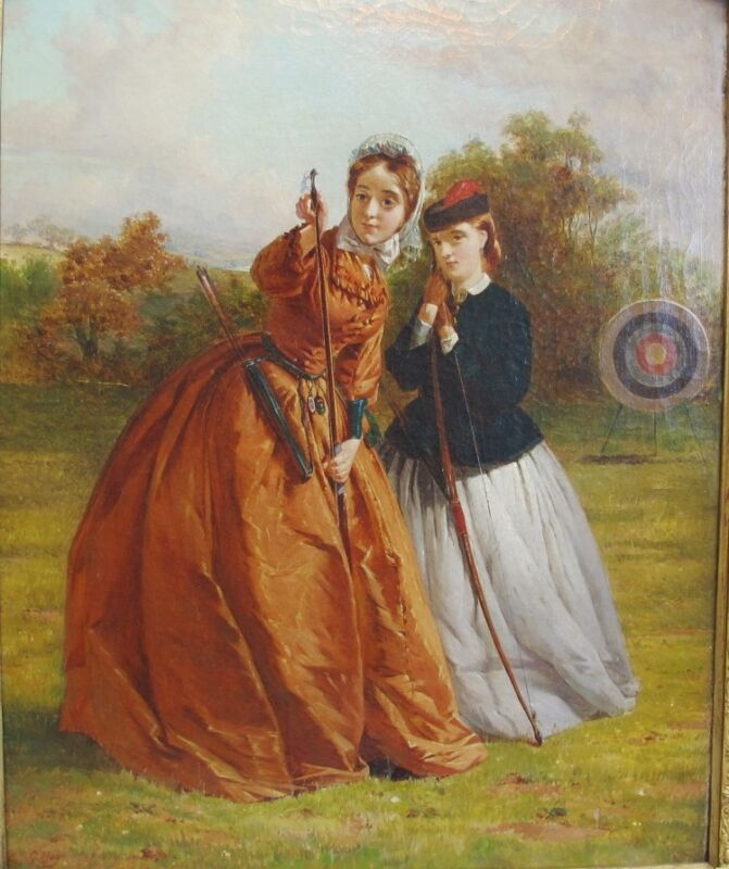 Important 19th C. Oil Painting of Two Women Archers  GEORGE H. HAY  antique