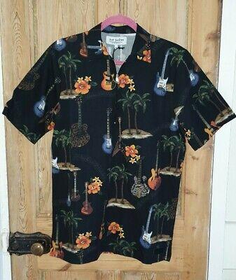 Mens Just Junkies ASOS Black Guitar Palm Print Hawaiian Shirt Medium M BNWT
