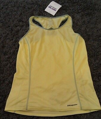 NWT NOS Patagonia Womens M Medium Fore Runner Running Tank Top Neon Green/Yellow