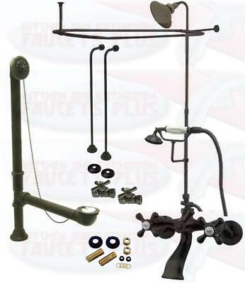 Oil Rubbed Bronze Clawfoot Tub Kit W/Shower Riser, Enclosure , & Drain Drain Shower Enclosure