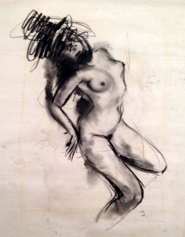 """Julian Ritter - """" Nude Lady  """" Charcoal on Vellum 19""""x 24"""" Signed Initial- 530"""
