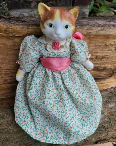 """Vintage 9 1/4"""" porcelain Cat Doll with beautiful Dress"""