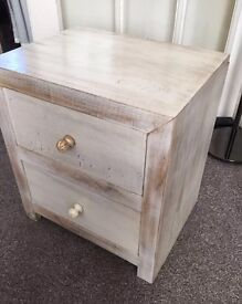 MANGO WOOD BEDSIDE TABLE WITH 2 DRAWERS IN NATURAL FINISH