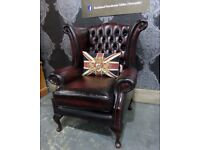 Fantastic Refurbished Chesterfield Wide Queen Anne Wing Back Chair in Oxblood Red Leather - Delivery