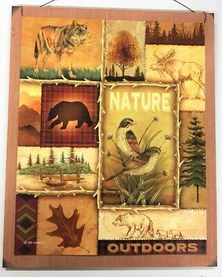 Nature Outdoors wolf moose bear birds cabin log home lodge decor wooden sign  Log Cabin Decor