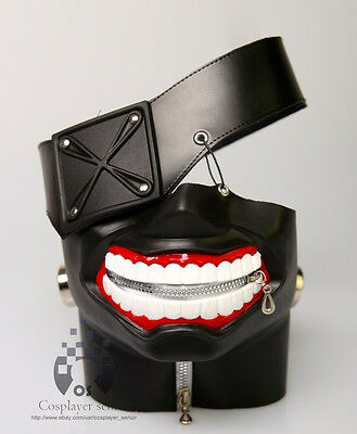 LATEX Tokyo Ghoul Ken Kaneki mask Adjustable Zipper cosplay halloween prop gift - Ghoul Mask