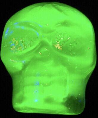 Green Vaseline glass gothic skull head uranium skeleton Halloween glow bones art