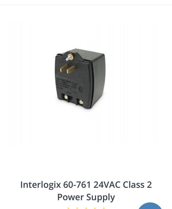 INTERLOGIX 60-761 CLASS 2 TRANSFORMER PLUG 24V 30VA  POWER SUPPLY