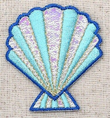 Iron On Embroidered Applique Patch Blue Pink Shimmery Seashell Sea Shell Beach