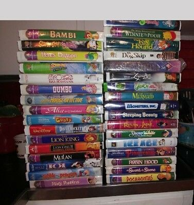 Lot of Childrens VHS Disney Movies 43 Various Classic Titles vcr Tapes