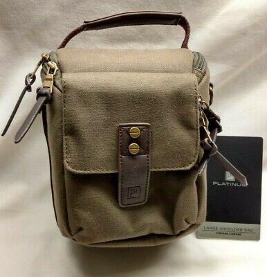 Platinum DSLR camera bag vintage canvas green brown MISSING SHOULDER