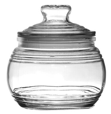 Glass Candy Jars with Ribbed Accents and Tight-Sealing Lids, 19 oz. Glass Accent Jar