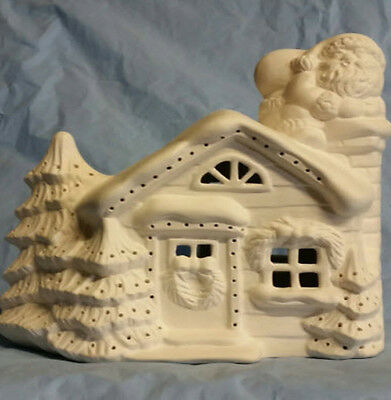 Ceramic Bisque Ready to Paint Christmas  House with Santa making his delivery!