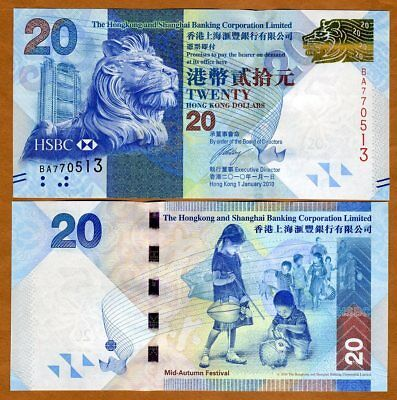 Hong Kong   20  2010  Hsbc  P 212  Unc   Lion