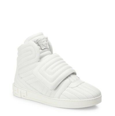 New Versace Eros White Quilted Leather Greek Key High-Top Sneakers 41/8 $995.00